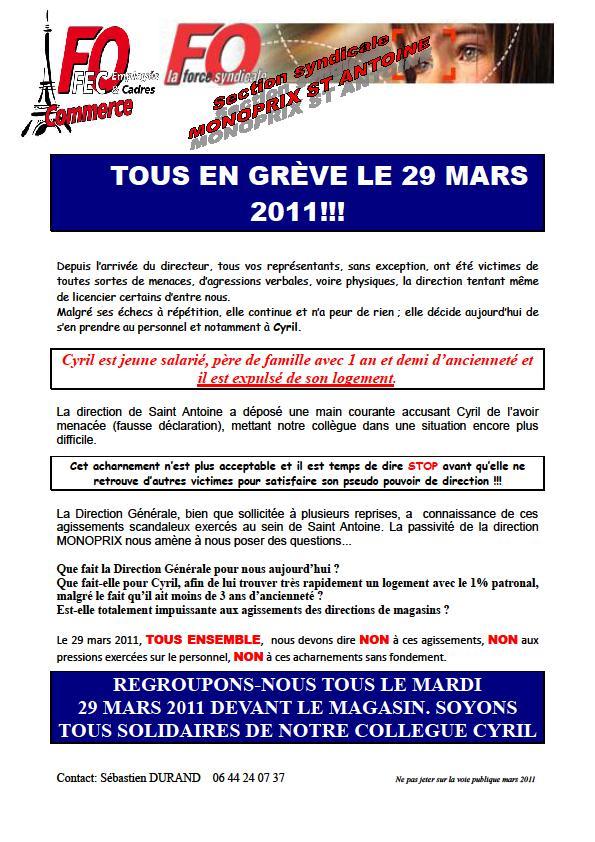 Monoprix gr7ve le mardi 29 mars fo bouchara eurodif - Monoprix rue saint antoine ...