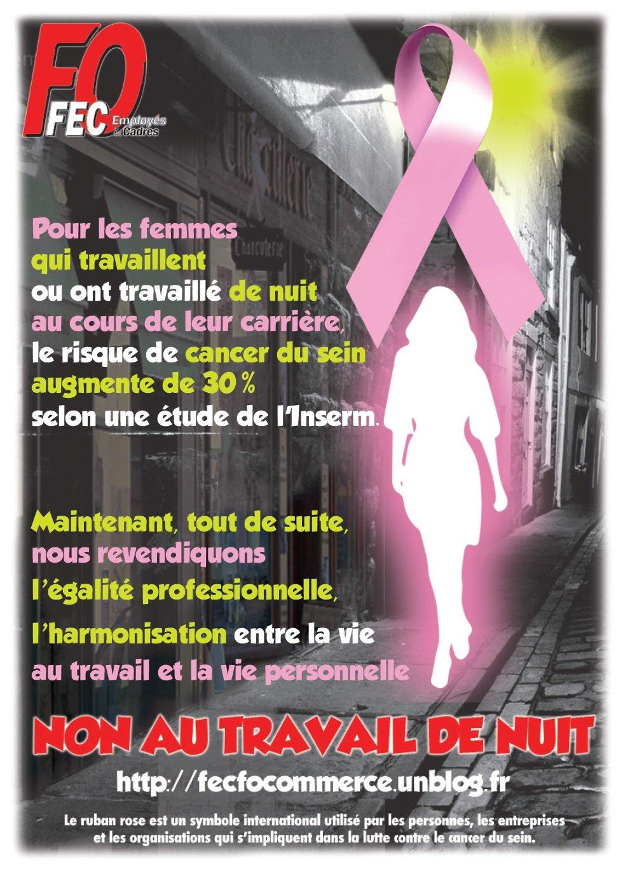 Affiche Travail de nuit - cancer du sein